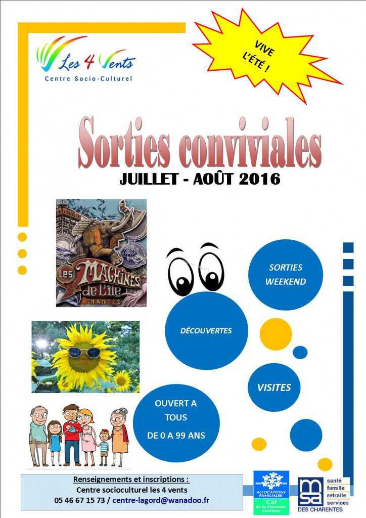 PROGRAMME SORTIE CONVIVIALES - FAMILLES DE JUILLET A AOUT 2016