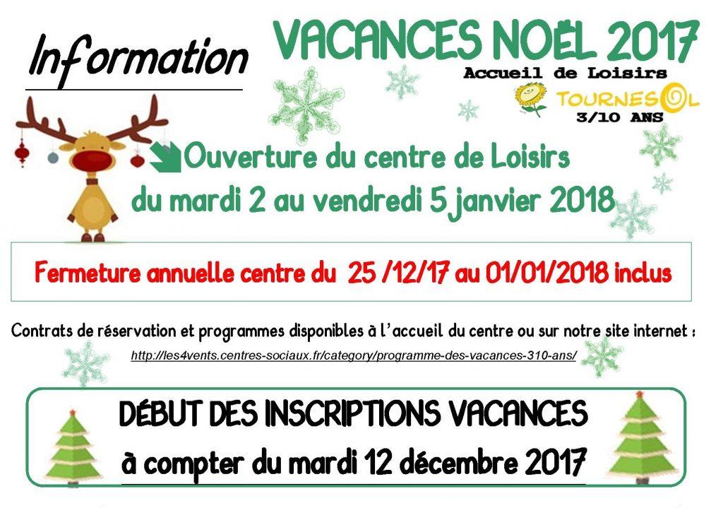 Inscription vacances no l 2017 tournesol centre socioculturel les 4 vents - Date vacances noel 2017 ...