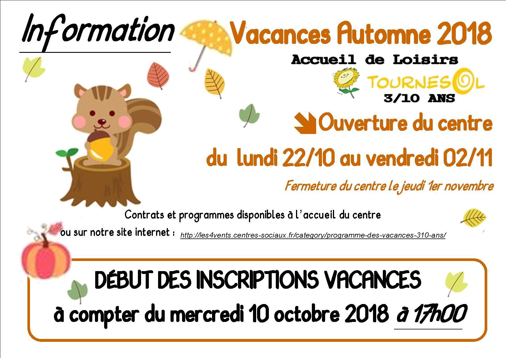 vacances automne 2018 Tournesol : Vacances du0027automne 2018